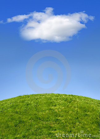 Green hill and sky