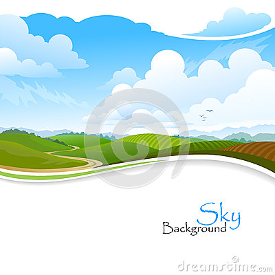 Free Green Hills , Blue Sky And Lonely Pathway Stock Images - 29626364