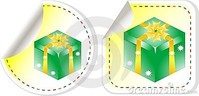 Green holiday box with bow. sticker label set