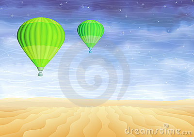 Green hot air balloons over a lifeless sand desert
