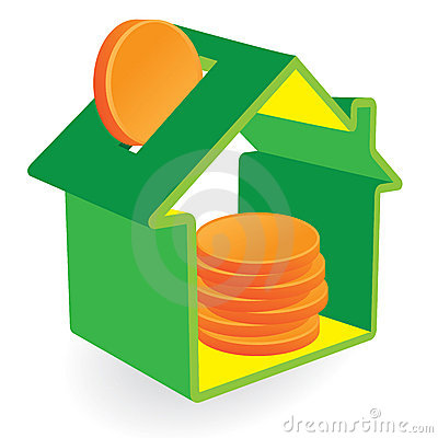 Green house moneybox with coins