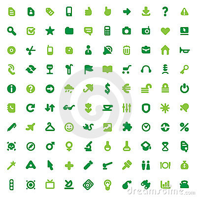 Free Green Icons And Signs Royalty Free Stock Photography - 13297977