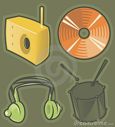 Green icons for music