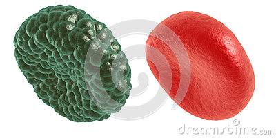 Green illness and red blood cell Stock Photo
