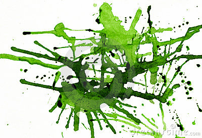 Green ink splatters
