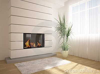 Green interior with fire