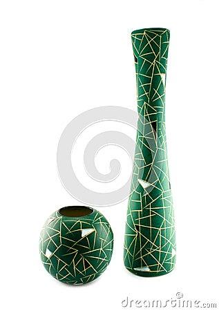Green isolerade två vases