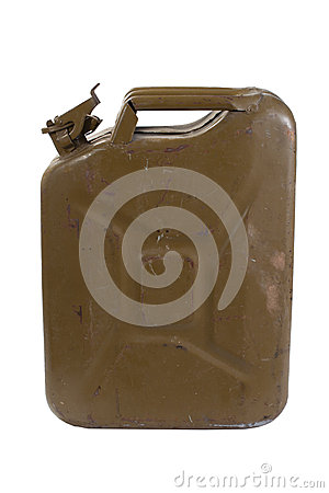 Green jerrycan isolated on white background