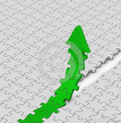 Green jigsaw puzzles arrow