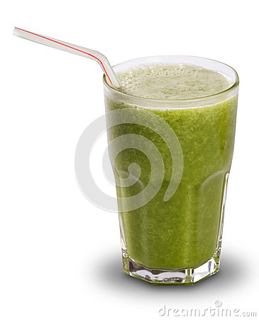 Free Green Juice In A Glass With Straws Isolated On A White Backgroun Stock Photo - 70191820
