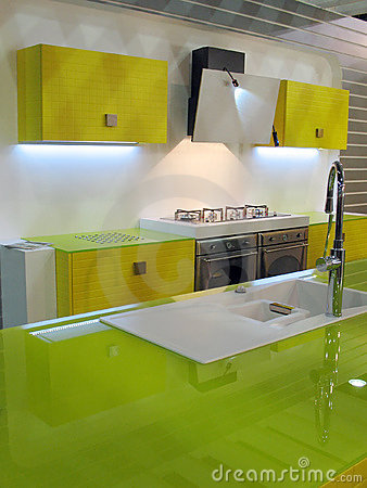Green kitchen interior