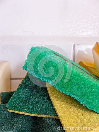 Green kitchen sponges
