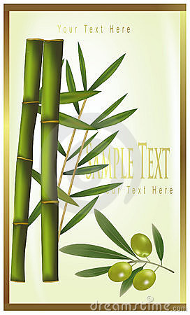 Green label of bamboo and olive