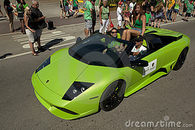 Green Lamborghini in Saint Patrick s Day Parade Editorial Image