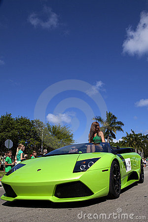 Green Lamborghini in Saint Patrick s Day Parade Editorial Stock Photo
