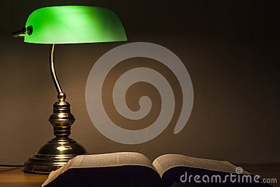 Green Lamp and Bible