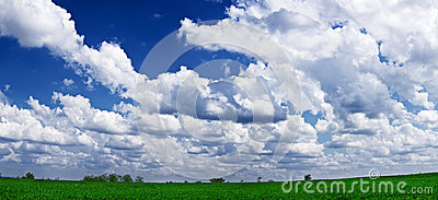 Green landscape and blue sky