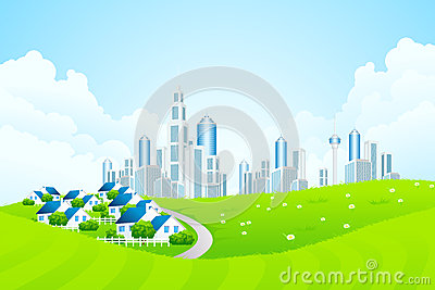 Green Landscape with City line and Cottage Village