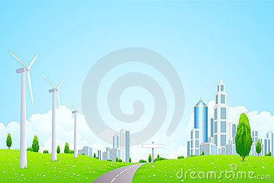 Green Landscape with Wind Power Station