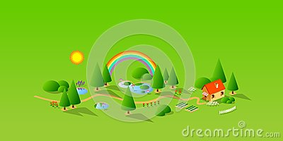 Green Landschaft and House