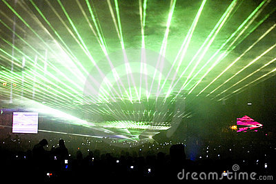 Green laser light show