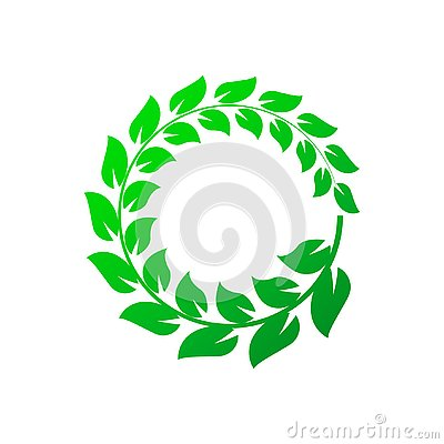 Green laurel wreath on white background. Vector Illustration Vector Illustration