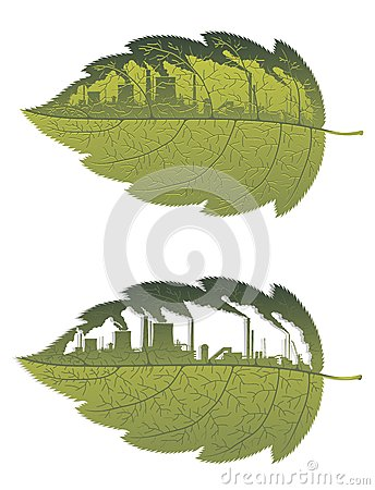 Green leaf with factory building