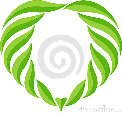Green leaf heart logo