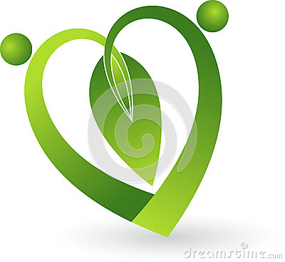 Green leaf heart shape