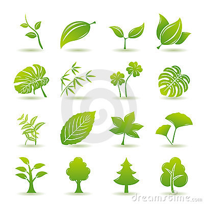Free Green Leaf Icons Set Royalty Free Stock Photos - 15069538