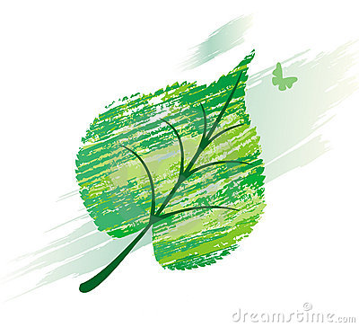 Green leaf from line brushes
