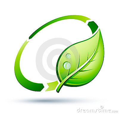 Green leaf recycling icon