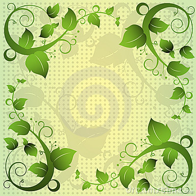Green Leaf Swirl Abstract Frame Background