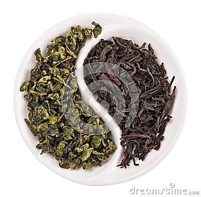 Free Green Leaf Tea Versus Black One Royalty Free Stock Photo - 19427535