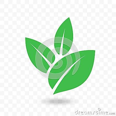 Green leaf vector icon for vegan, bio eco design Vector Illustration