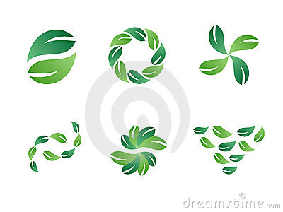 Green Leaf Vector Logo Designs