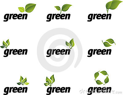 Green leaf vector set.