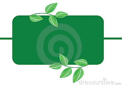 Green leafs banner - vector