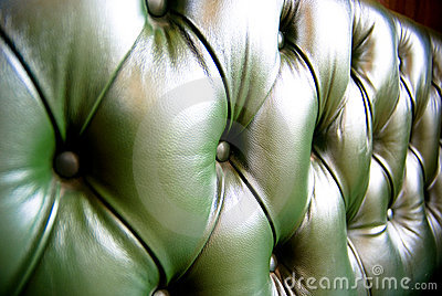 Green leather upholstery