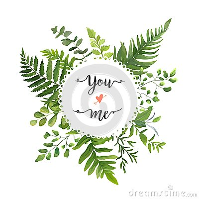Free Green Leaves Foliage Vector Round Greenery Leaf Wreath Of Eucaly Royalty Free Stock Images - 107291889