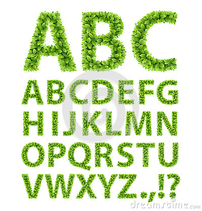 Free Green Leaves Font Stock Image - 26014651