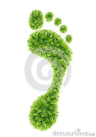 Green leaves footprint