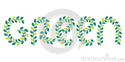 Green leaves logo illustration. Vector healthy lifestyle symbol Vector Illustration
