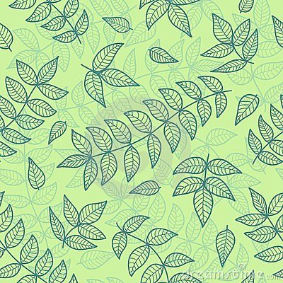 Green leaves seamless pattern.
