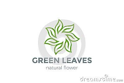 Green Leaves Star Logo design vector template Vector Illustration