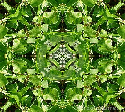 Green Leaves Tile Pattern Background