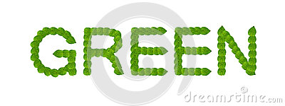 Green leaves word concept