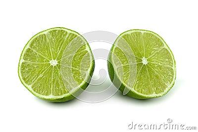 Green lemon cut