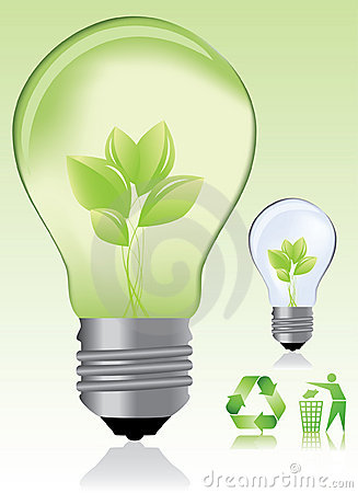 Green light bulb and ecology icons