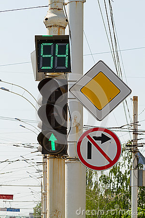 Green light - display with a countdown